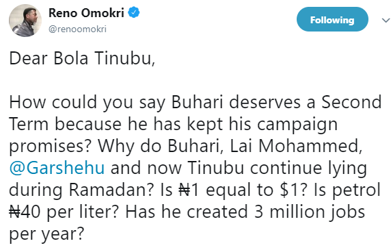 Reno Omokri reacts to Bola Tinubu saying President Buhari has fulfilled his campaign promises and deserves a second term in office