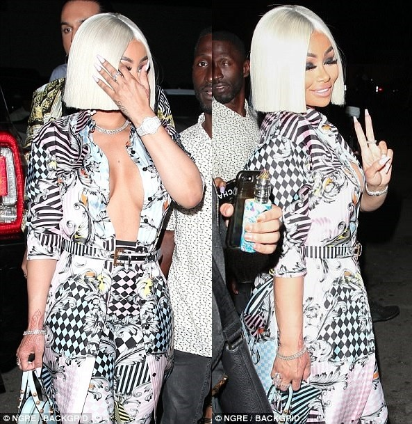 Blac Chyna flashes her chest in mixed-print coords as she debuts new platinum blonde locks (Photos)
