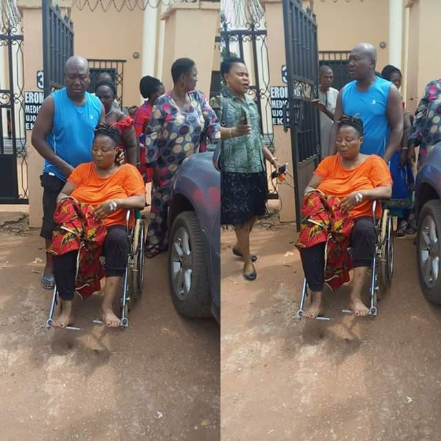 Photos: APC hoodlums allegedly beat up female SA to Governor Obaseki leaving her with brain injury