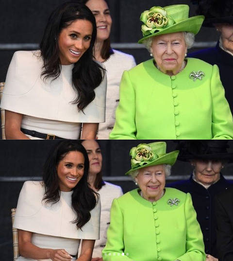 Meghan Markle arrives in Cheshire as she accompanies Queen Elizabeth for a day of engagements