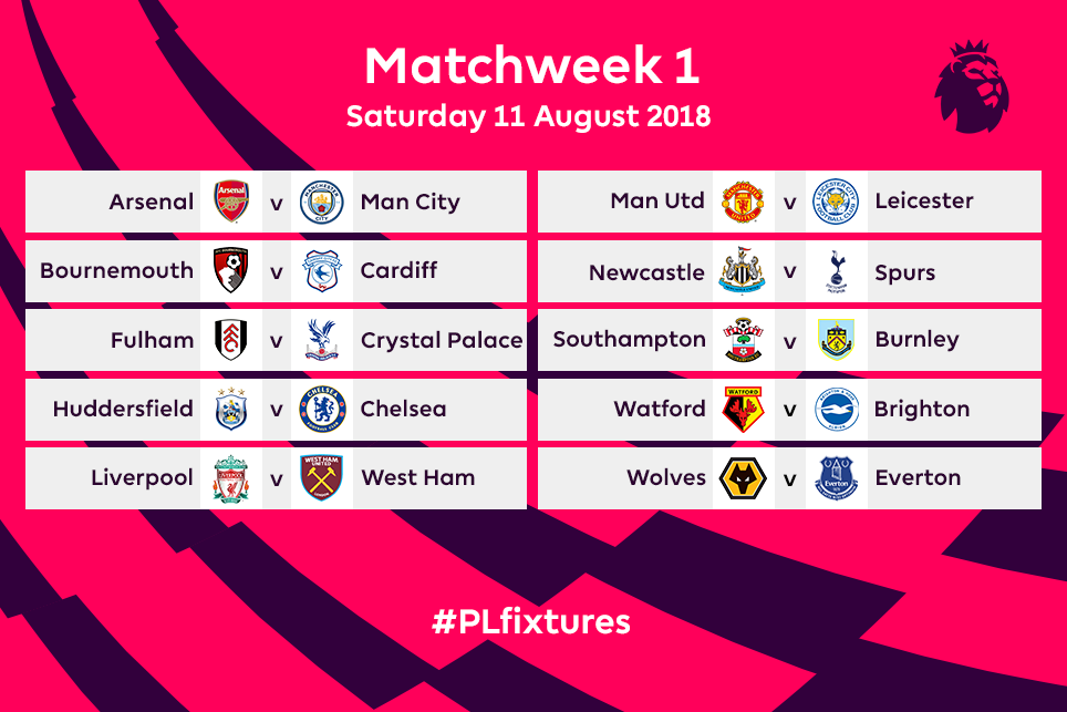 Premier League fixtures revealed! Find out who Chelsea, Arsenal, Man.City, Man. Utd, Liverpool & others are playing on the start of 2018-19 season.