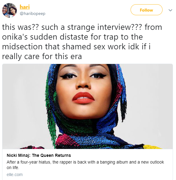 "Nicki Minaj comes under fire for her Elle interview where she said, ""It makes me sad that women are having sex for money"""