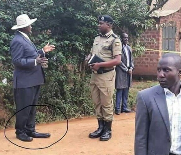 Lol. Check out the shoes worn by President Yoweri Museveni