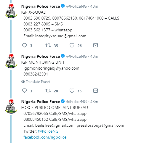 Nigeria Police Force moves to end menace of SARS officers, release dedicated telephone numbers for victims to lodge complains