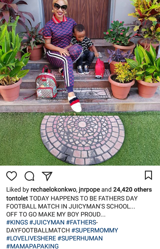 Tonto Dikeh stands in as her son