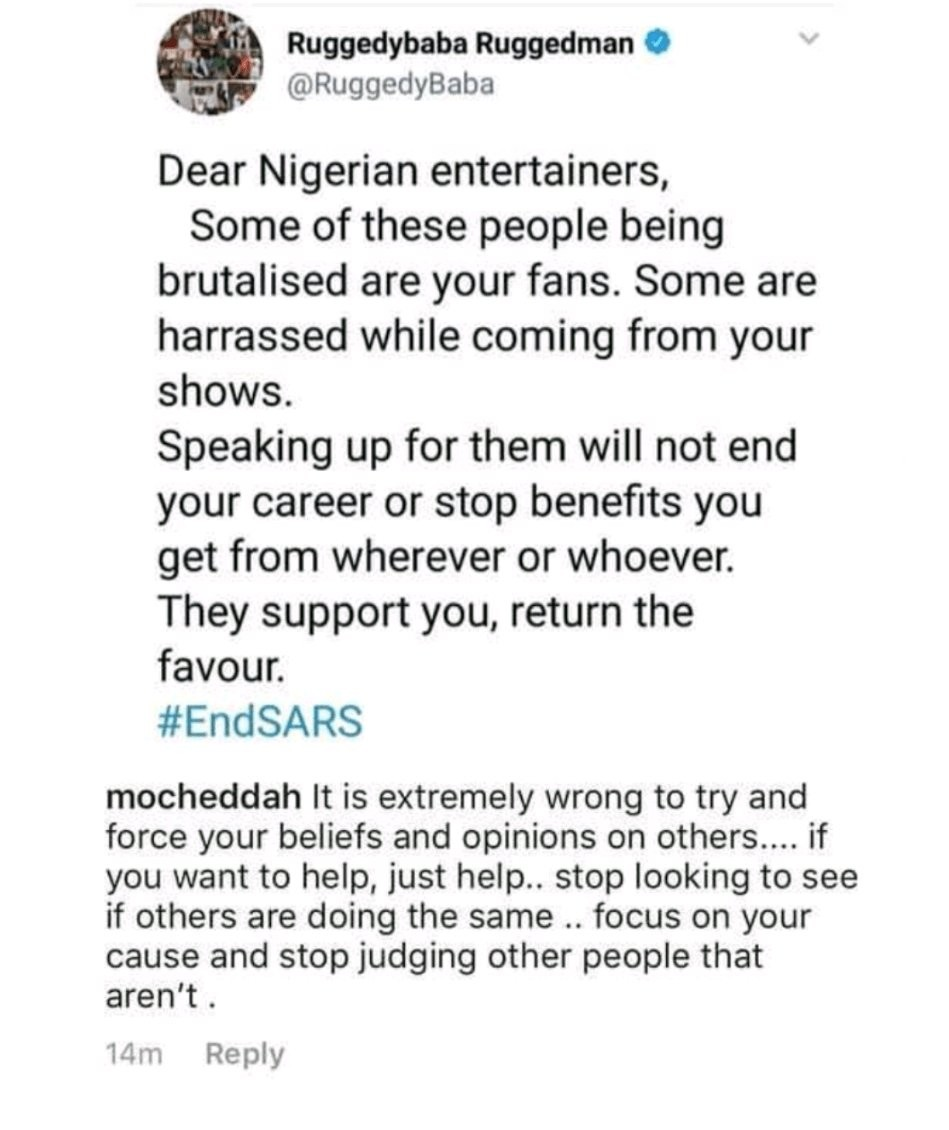 Singer, Mocheddah, rebukes Ruggedman for calling on all celebs to lend their voices to the #ENDSARS campaign