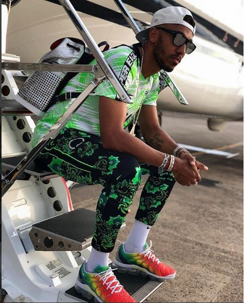 Arsenal star Aubameyang shows off his swag as he poses in Super Eagles kit (Photos)