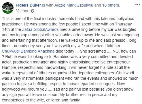 Nollywood producer, Bambino Anachina,  has died