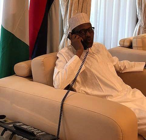 Photo of President Buhari speaking with the Super Eagles before their opening World Cup match against Croatia which they lost 2-0