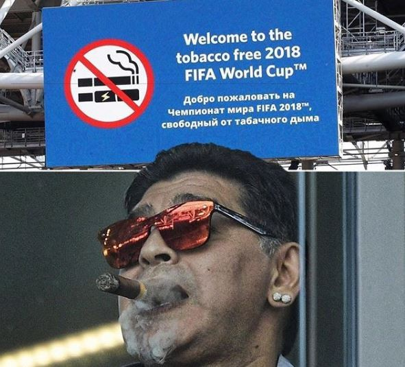 What is wrong with this photo of Maradona at the Russia 2018 World cup?