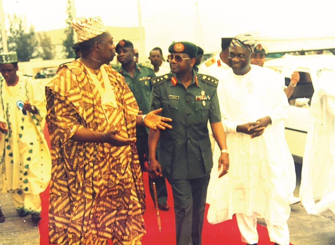 Throwback photo of late MKO Abiola, Sani Abacha and former Lagos state governor, Sir Michael Otedola