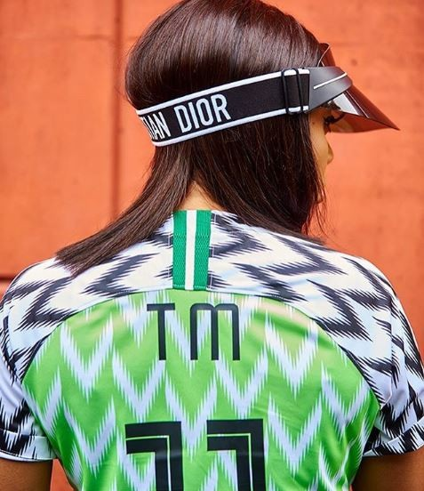 Cute photos of Toke Makinwa rocking the Super Eagles jersey