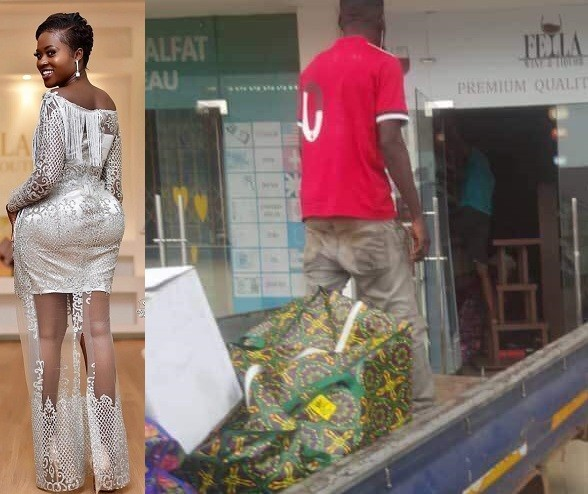 Angry boyfriend of fast-rising Ghanaian actress Fella Makafui closes down the wine shop he opened for her, claims she