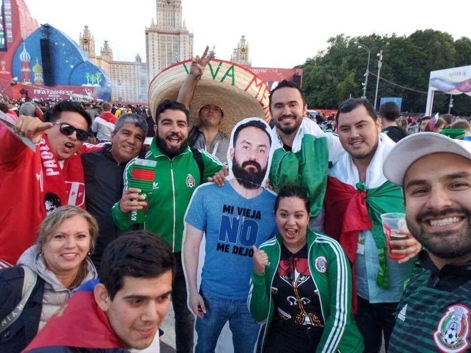 Lol. Group of Mexican fans travelled to Russia with a cardboard photo of their friend whose wife didn?t let him go to the World Cup (Photos)