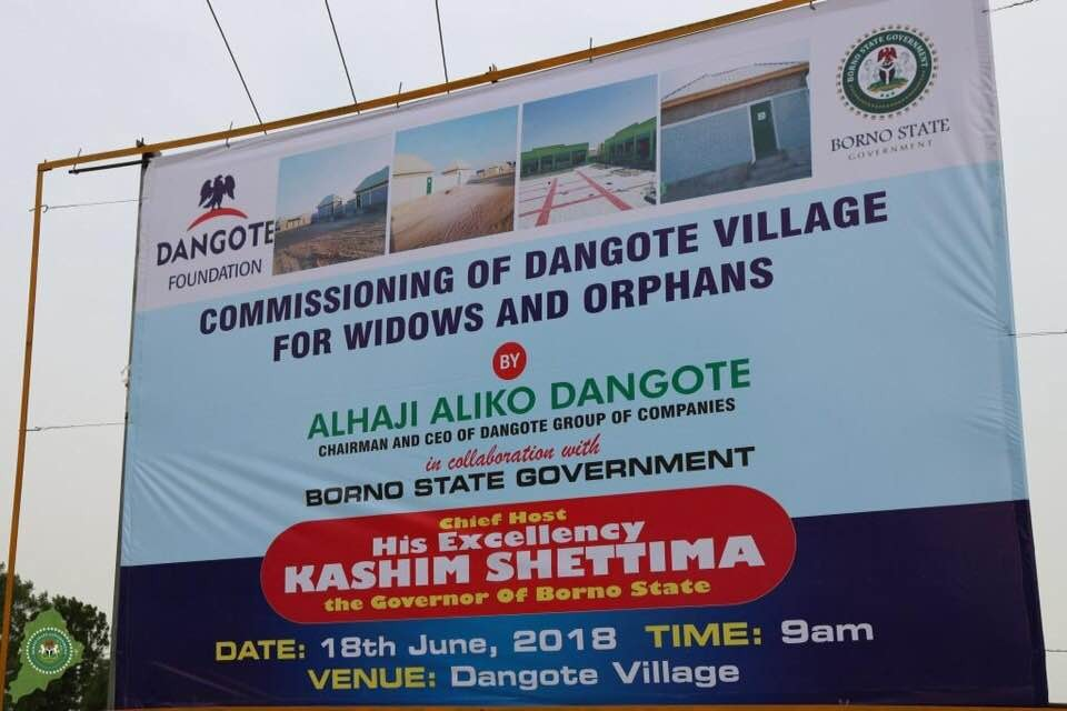 Photos: Aliko Dangote donates 200 housing units to IDP widows in Borno