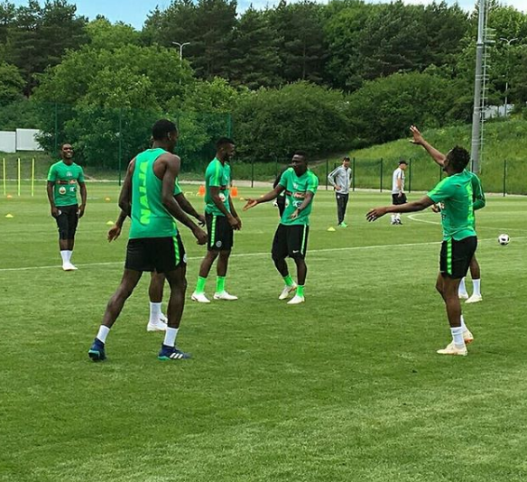 Photos of Super Eagles players training this morning ahead of their match against Iceland