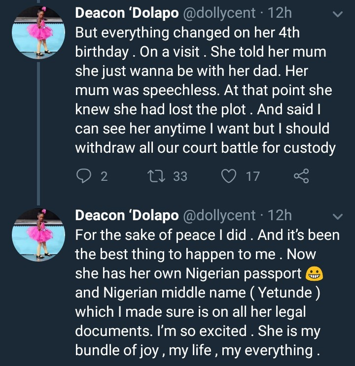 Young Nigerian man narrates how his 5yr old daughter chose him after bitter custody battle with his babymama