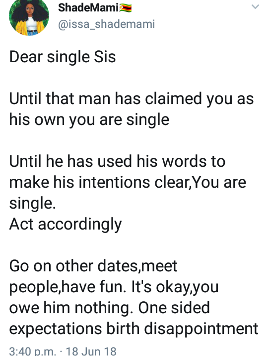 See the advice a Twitter user gave ladies about relationships that has angered men