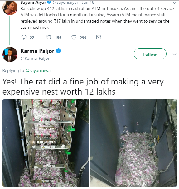 Rats blamed for eating banknotes worth about N17 million in ATM in India