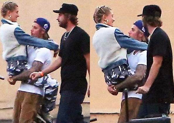 Justin Bieber carries his girlfriend Hailey Baldwin as they pack on the PDA in LA?(Photos)