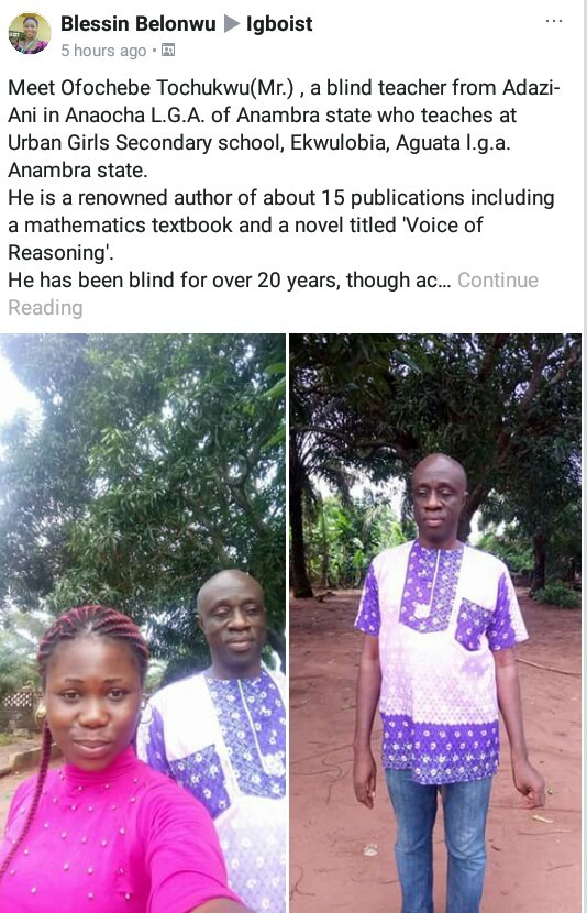 Meet Nigerian blind teacher who has authored 15 publications including Mathematics textbook and novel