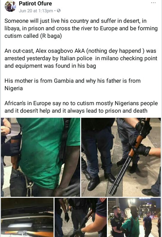 Photos: Suspected Nigerian cultist nabbed with firearms in Italy