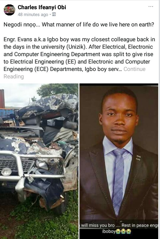 Young Engineer dies in ghastly motor accident on the way to UNIBEN to start his Masters Degree Program