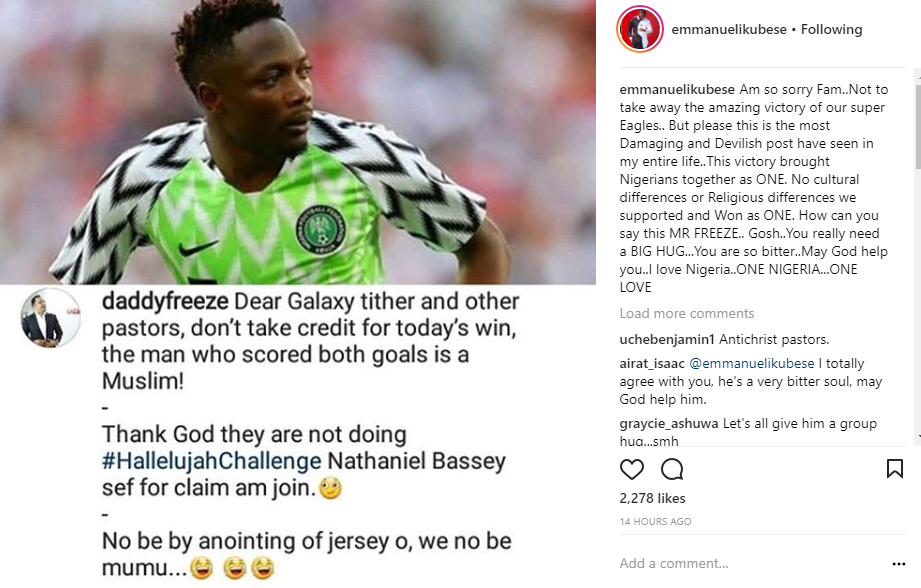 Actor Emmanuel Ikubese slams DaddyFreeze following his post about Super Eagles victory against Iceland