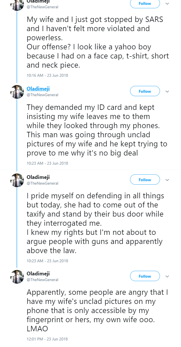 Man shares story of how SARS stopped him and kept on looking through his wife
