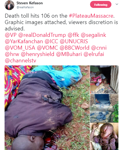 Heartbreaking photos from attack carried by unknown gunmen in Plateau state(graphic)