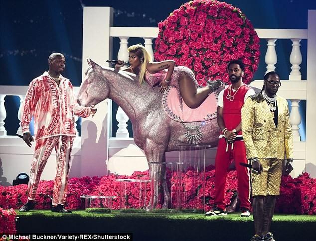 Nicki Minaj puts up sexy display in very racy red dress during BET Awards performance (Photos)