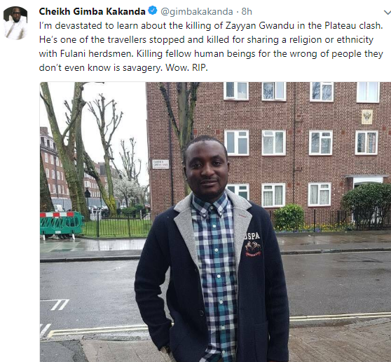 Photos: Son of Police Commissioner in charge of SARS among travellers killed in reprisal attack after massacre in Plateau