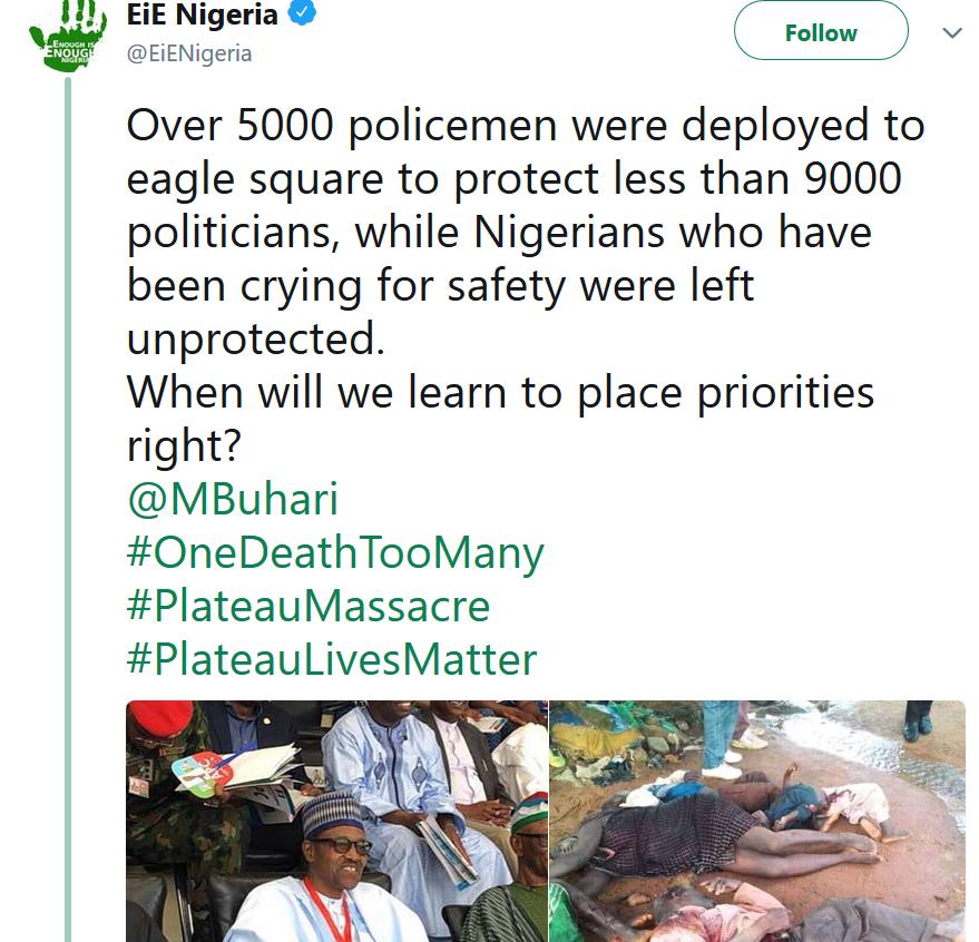 Tweet of the day regarding Plateau massacre