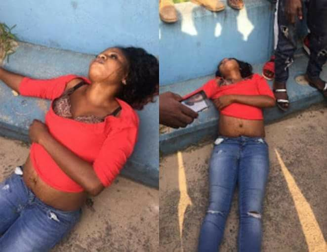Photos: Body of a young lady dumped on the roadside in Delta