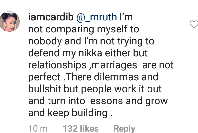 Cardi B likens herself to Beyonce as she defends her decision to marry Offset even though he