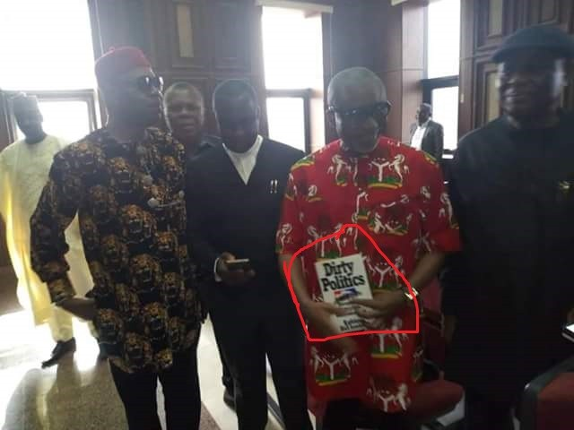 Senator Enyinnaya Abaribe appears in court holding a book called ?Dirty politics?