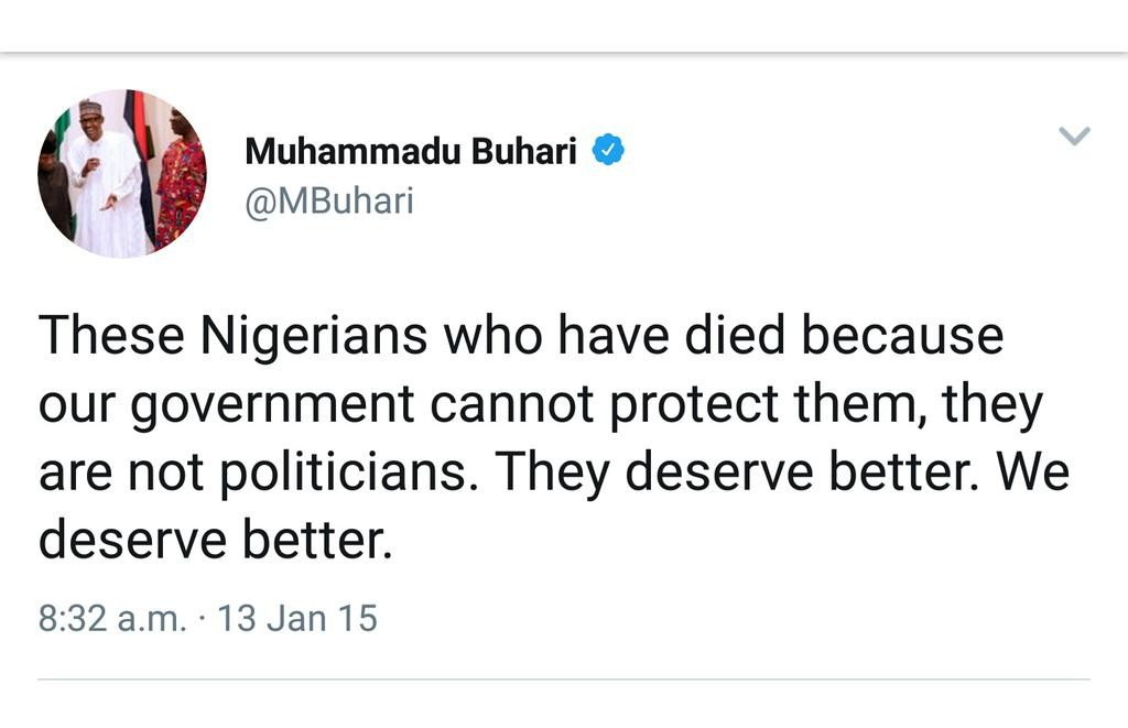 ABEG SEE WHAT BUHARI SAID IN 2015...........Twitter users dig up President Buhari's tweets from 2015 promising to protect Nigerians