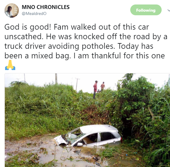 See the ghastly accident a man walked away from without a scratch (photo)