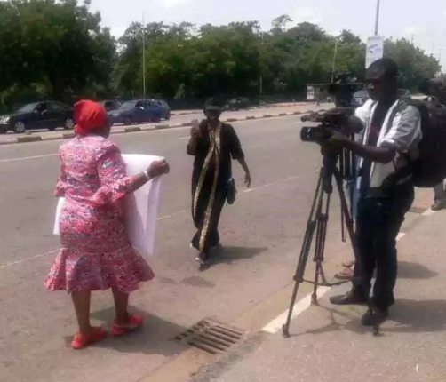 Security operatives assault Oby  Ezekwesili at Aso Rock gate(photos)