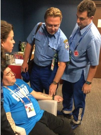 Photo: Maradona suffers high?blood pressure after the match between Nigeria and?Argentina