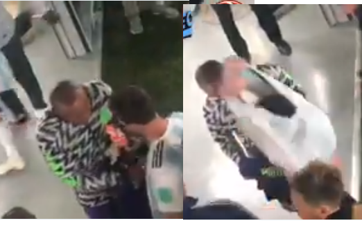Super Eagles goalkeeper Ikechukwu Ezenwa caught on camera asking Lionel Messi for his jersey just after Nigeria lost 2 - 1 to Argentina (Video)