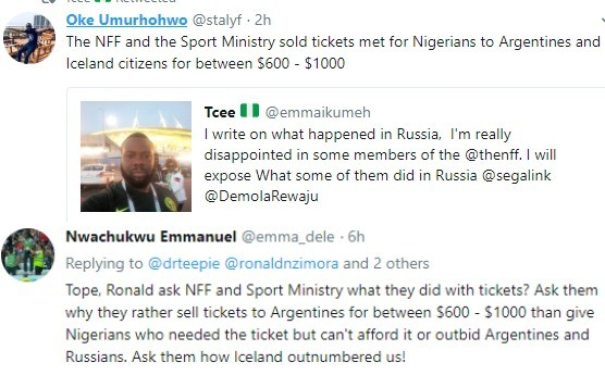Russia2018: Nigerians accuse NFF and Sports ministry officials of selling tickets meant for Nigerians to Argentines and Iceland citizens