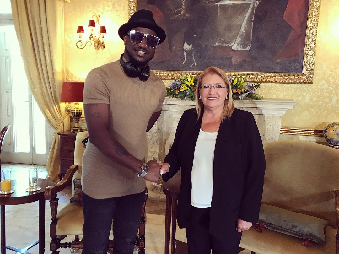 Peter Okoye meets with Maltese President as he kicks off Europe tour