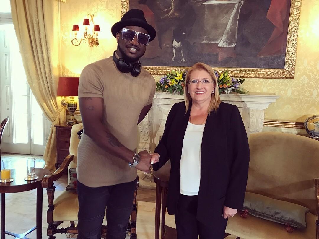 Peter Okoye meets with Maltese President as he kicks off Europe tour