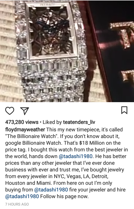 Floyd Mayweather buys watch worth $18 million and 50 Cent drags him for it