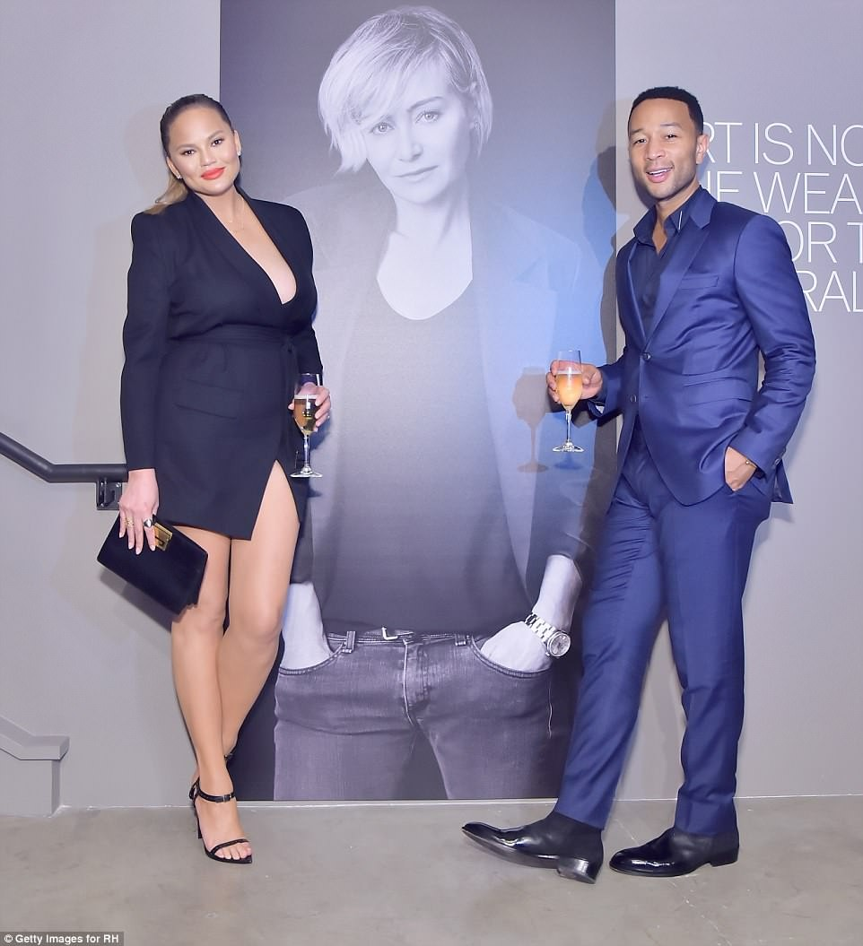 Chrissy Teigen flaunts her incredible post-baby body 6-weeks after giving birth as she joins husband John Legend for an event in LA (Photos)