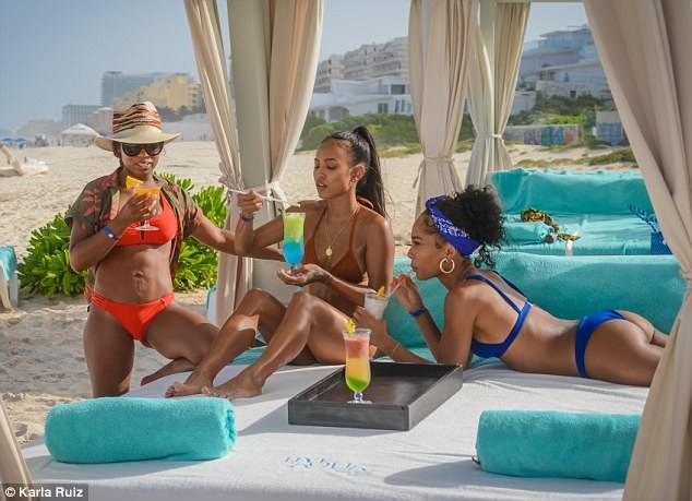 Karrueche Tran flaunts her hot bikini body as she enjoys girls