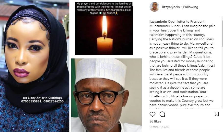 'The killings may stop if you release all those your government have arrested for money laundering' - Liz Anjorin tells President Buhari in open letter