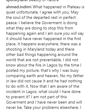 Buhari?s son-in-law, Ahmed, slams follower who attacked him for posting vacation photos while Nigeria is in crisis