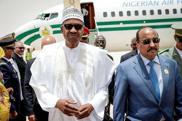 buhari, President Buhari arrives Mauritania ahead of 31st session of the AU Summit (Photos)